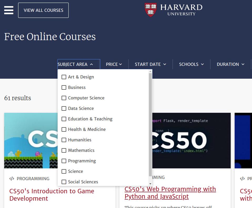 Khoá học trực tuyến miễn phí tại đại học Harvard